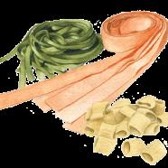Fresh pasta: fettuccine, pappardelle + mostaccioli