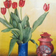 Blue vase + red lantern