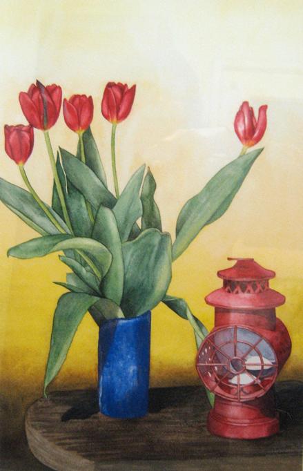 blue-vase-+-red-lantern