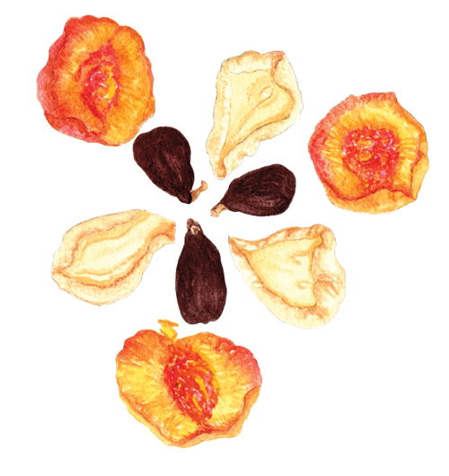 Dried pears, peaches + figs