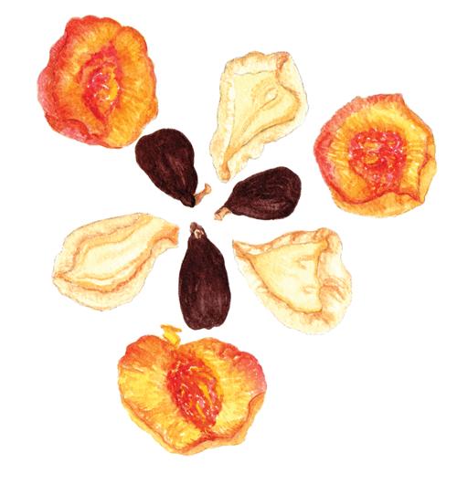 Dried pears, peaches + figs