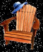 adirondack chair +  blue hat